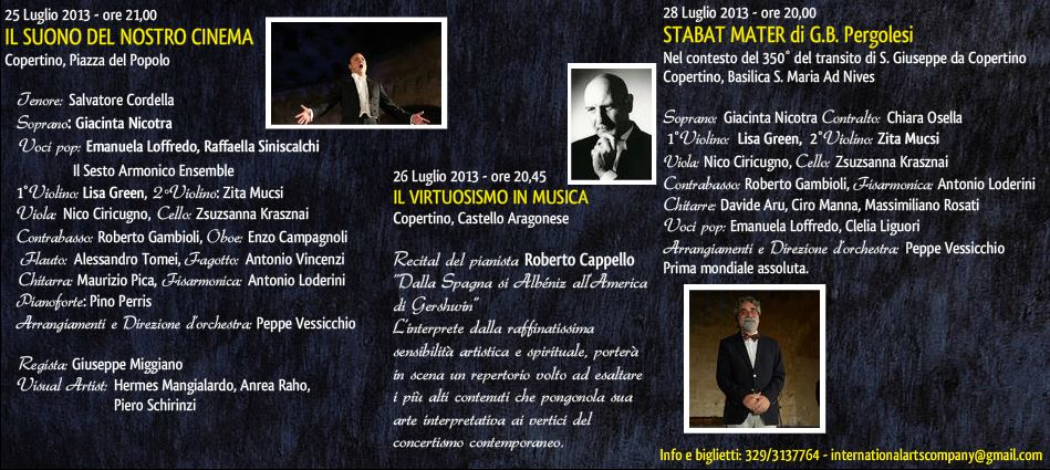 programma delle tre serate International Arts Festival