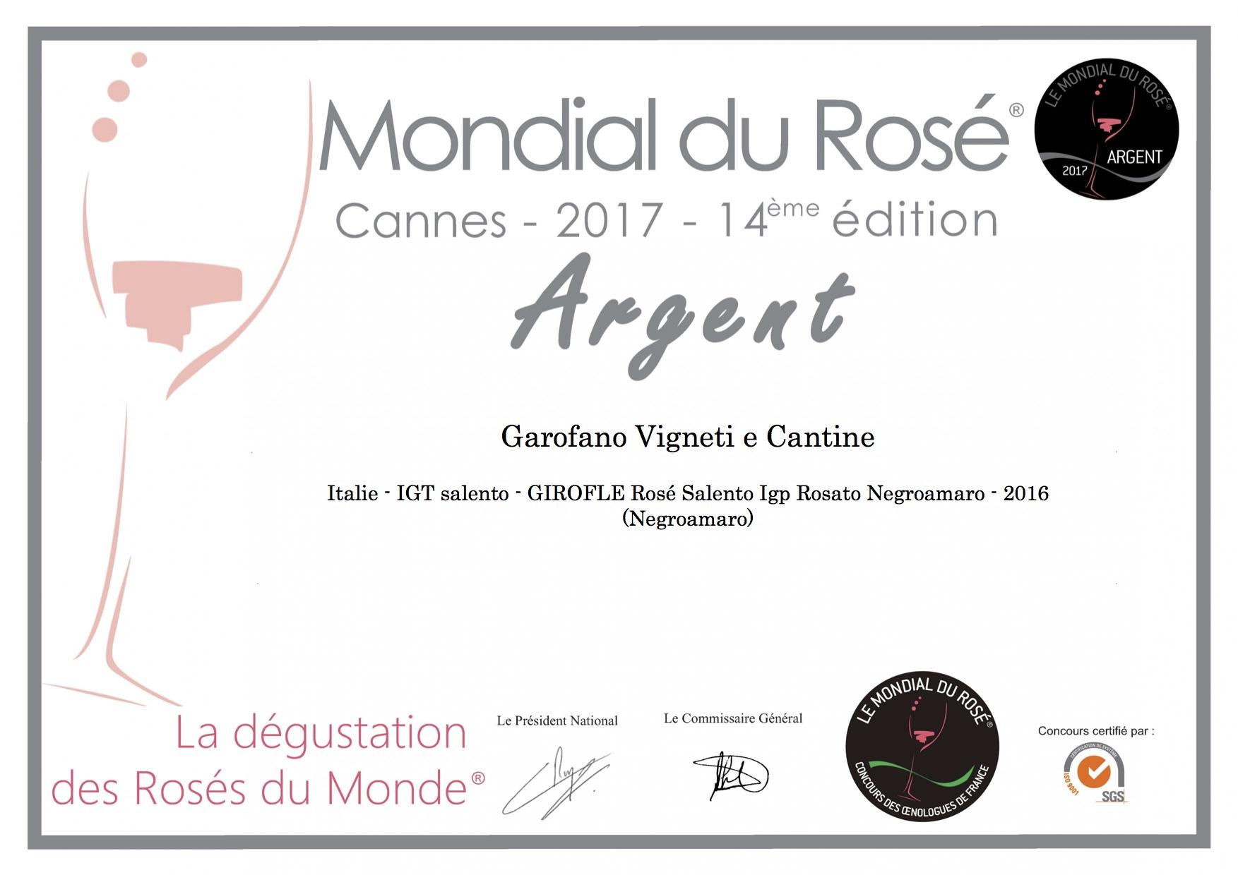 medaglia di argento al Mondial du Rosé