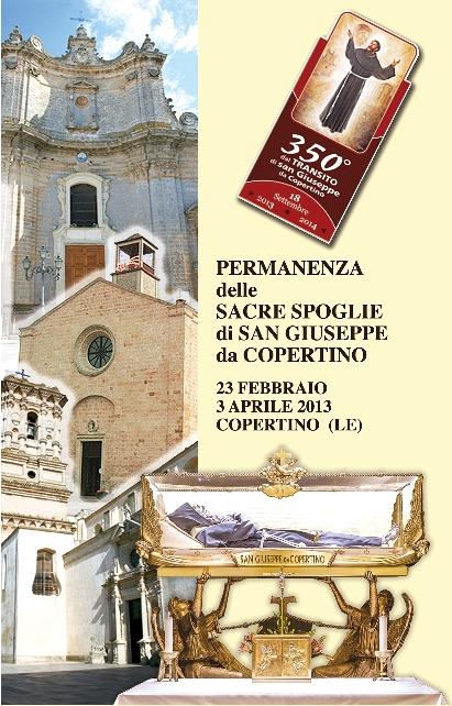 locandina 350° anniversario transito di san Giuseppe a Copertino